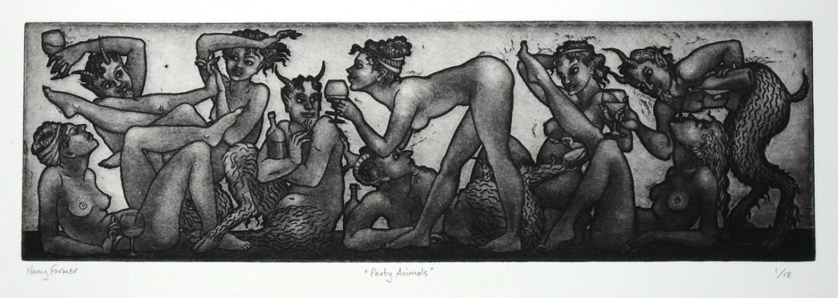 'Party Animals' - etching