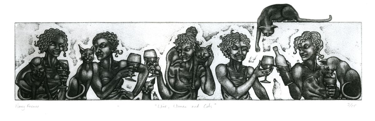 'Wine, Women and Cats' - etching
