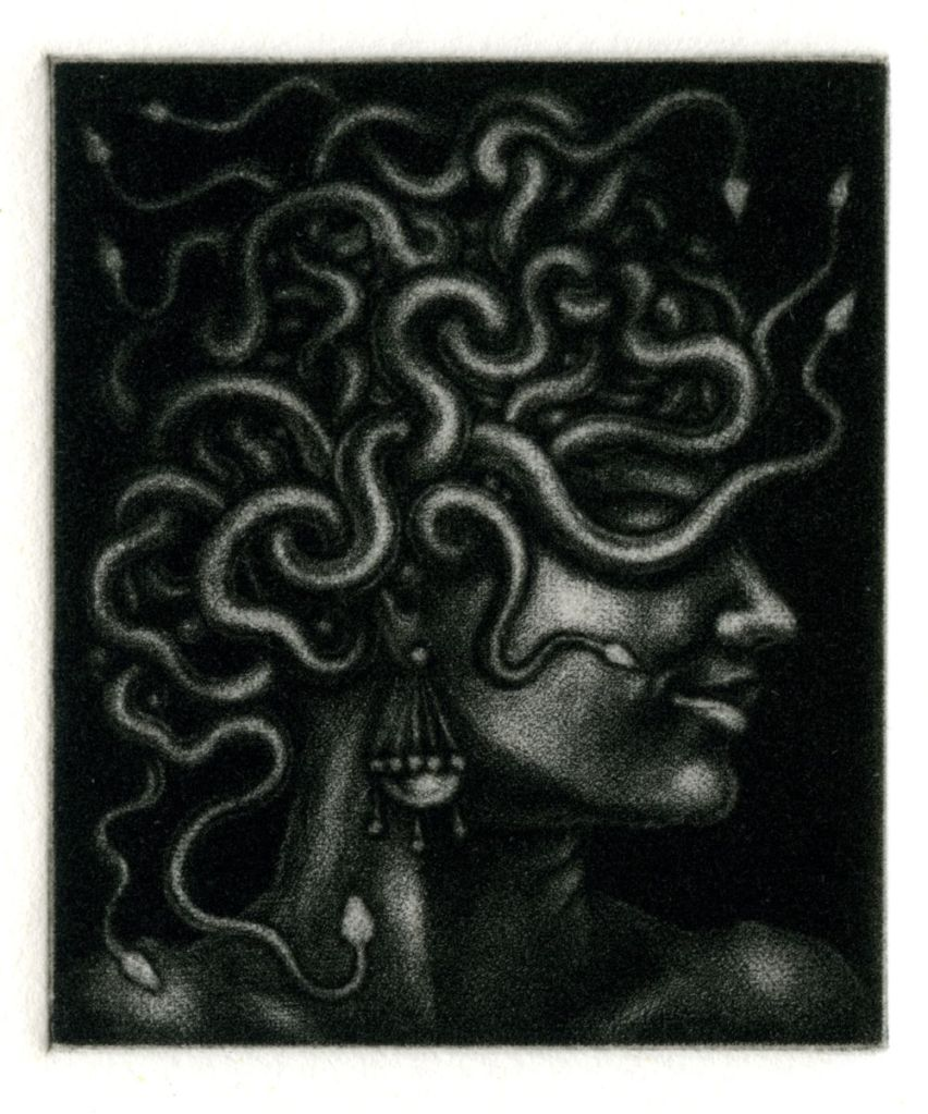 Head of Medusa (Still Attached) - mezzotint print