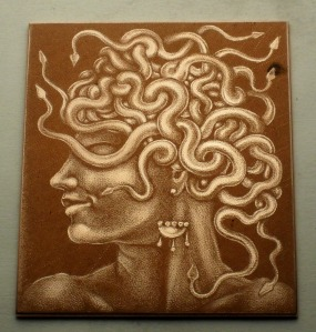 mezzotint plate: 'Head of Medusa' by Nancy Farmer