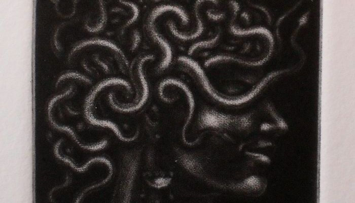 Mezzotint print of 'The head of Medusa' - needing a little more work...