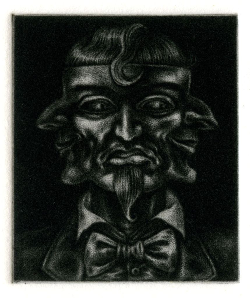 Three Faced Mask - mezzotint print