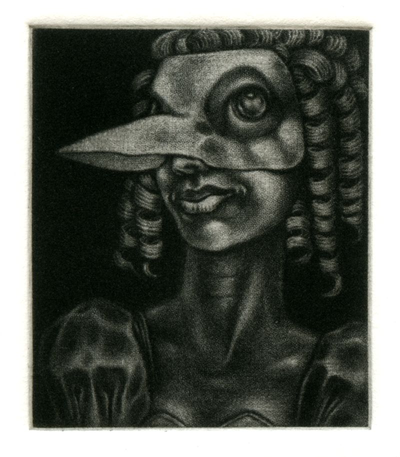 Mezzotint engraving: 'Bird mask and Ringlets' by Nancy Farmer