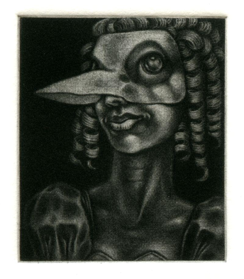 Mezzotint engraving: 'Bird mask and Ringlets' by Nancy Farmer