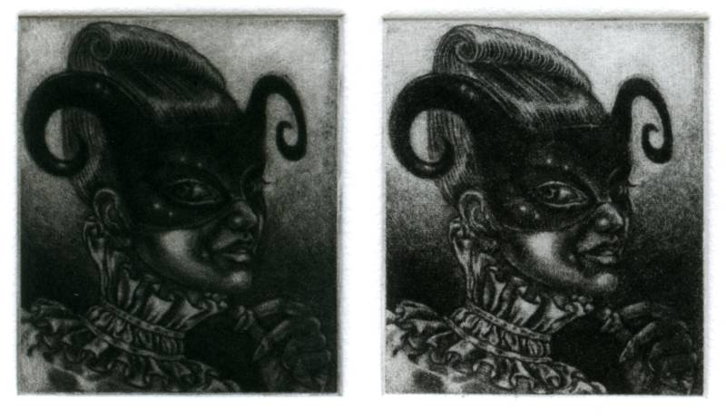 print from an unfinished plate: 'Curly horns and Ruff'