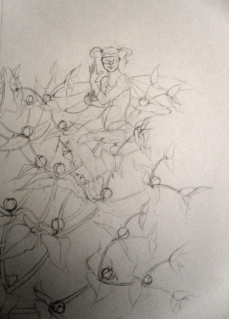 Euphorbia Lathyris, fairy of the Caper Spurge - drawing by Nancy Farmer