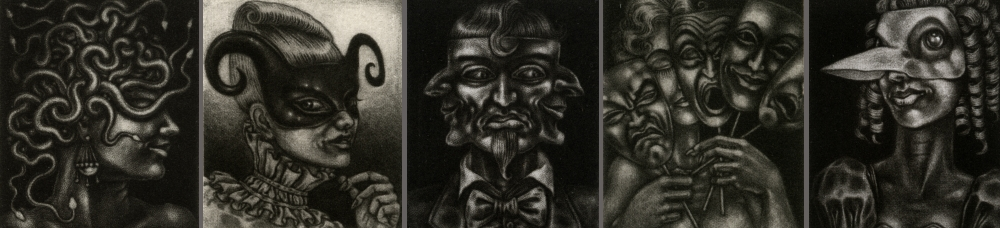 A masked procession of five small mezzotint prints
