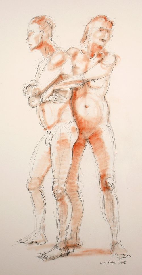 2012-1: life drawing in pencil and pastel by Nancy Farmer