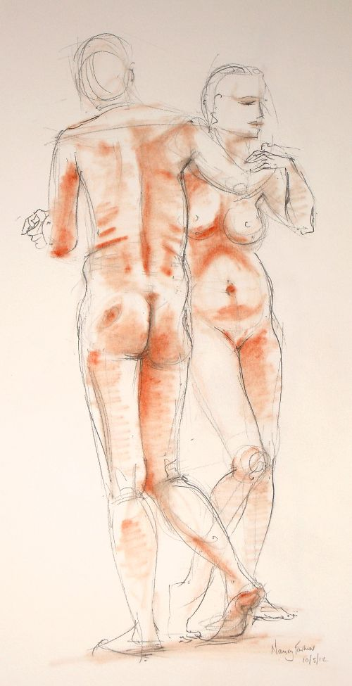 2012-3: life drawing in pencil and pastel by Nancy Farmer