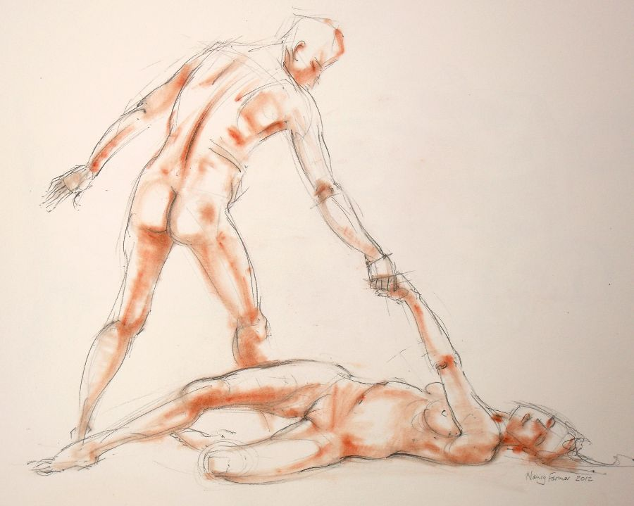 2012-4: life drawing in pencil and pastel by Nancy Farmer