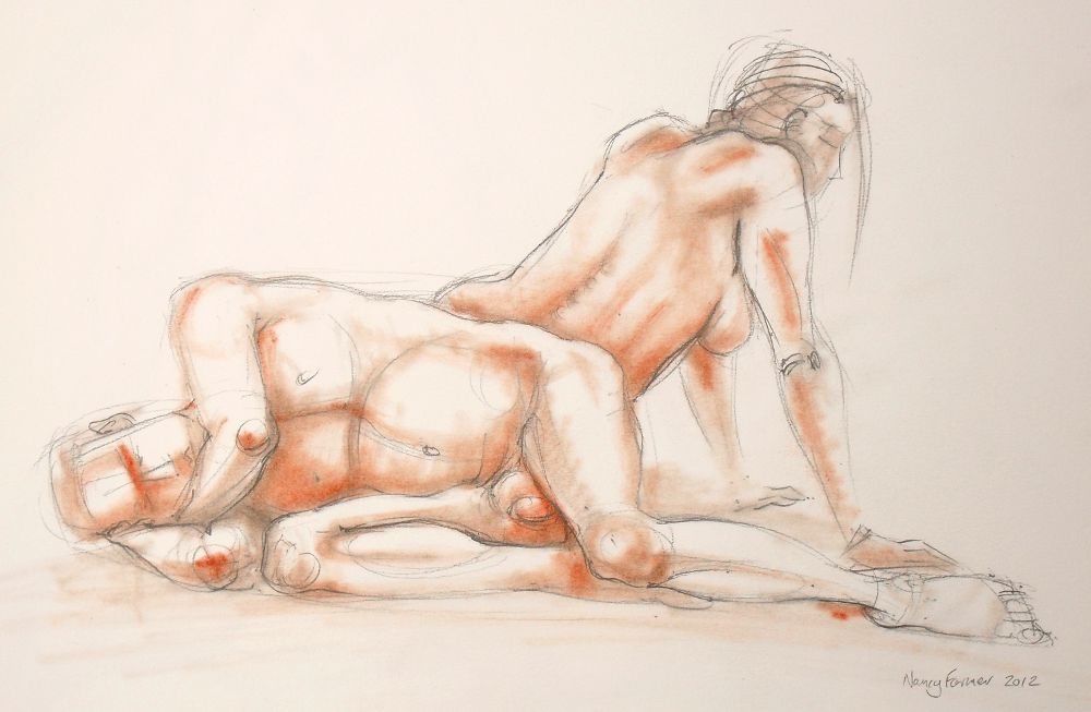 2012-5: life drawing in pencil and pastel by Nancy Farmer