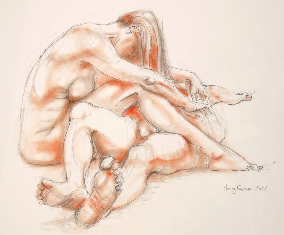 2012-6: life drawing in pencil and pastel by Nancy Farmer