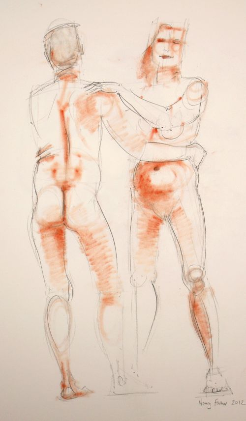 2012-7: life drawing in pencil and pastel by Nancy Farmer