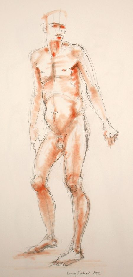 2012-8: life drawing in pencil and pastel by Nancy Farmer