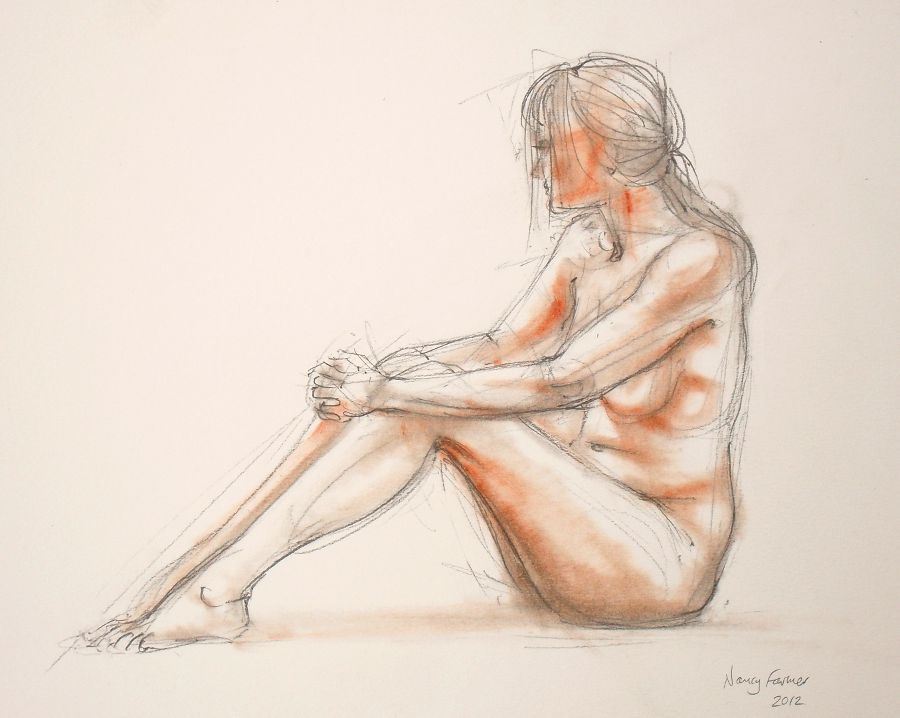 2012-9: life drawing in pencil and pastel by Nancy Farmer