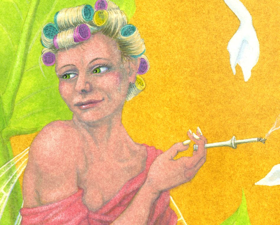 Close-up of the fairy, with her rollers and cigarette.