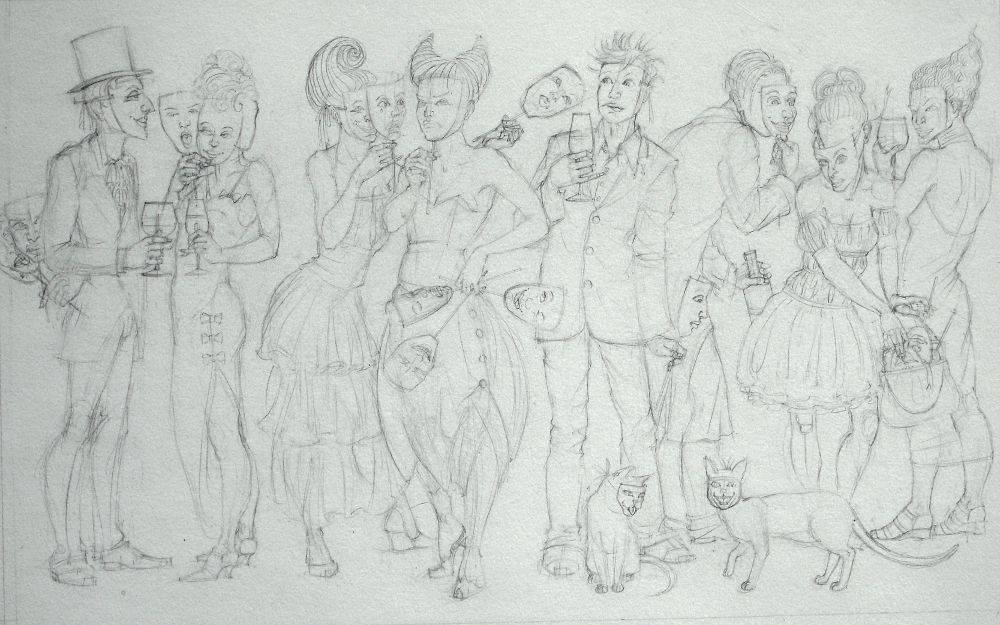 Sketch For A New Masquerade Painting Vis Art By Nancy Farmer