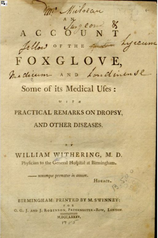 Title page from William Withering's book on Foxgloves. Image courtesy Missouri Botanical Garden, http://www.botanicus.org