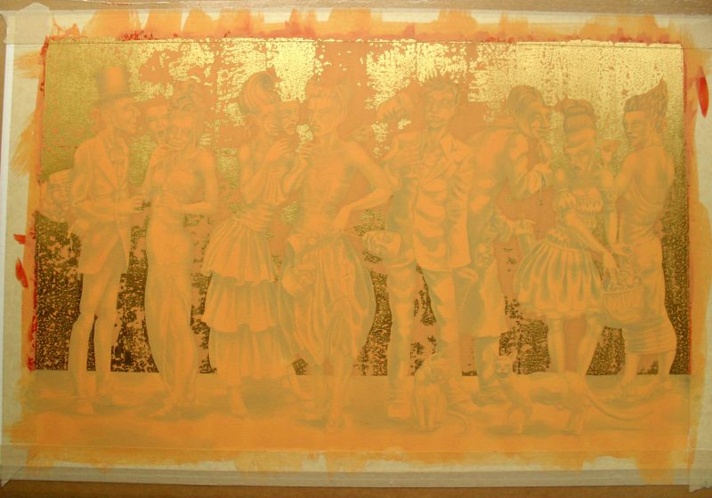 The painting, now dried, with its wash of orange