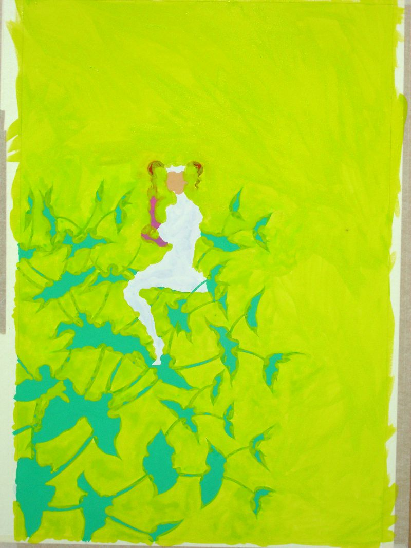 Painting the Caper Spurge Fairy: under-painting in colour 2