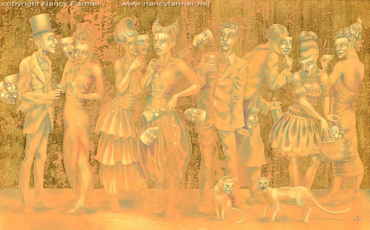 finished painting vis vis a masquerade in gold and orange art by nancy farmer. Black Bedroom Furniture Sets. Home Design Ideas