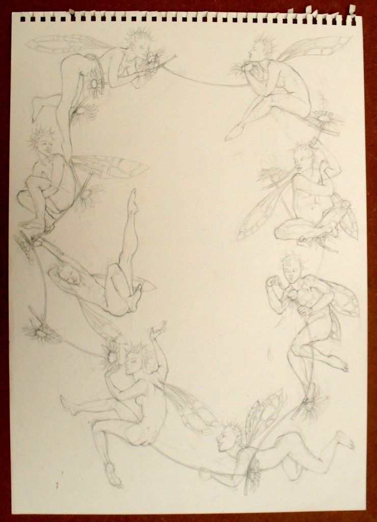 August sketch: 8 fairies and a daisy chain