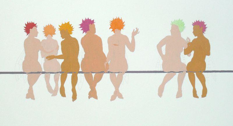 'Seven Birds on a Wire' - adding the base colour