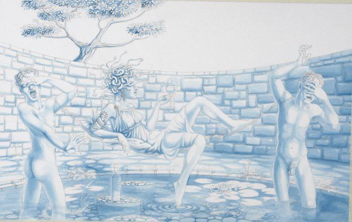 Blue underpainting: 'Medusa's Hammock'