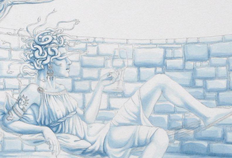 Blue underpainting (detail): 'Medusa's Hammock'