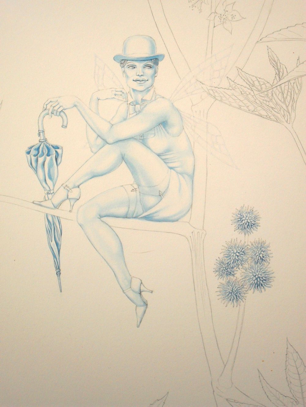 Blue underpainting, part way through: 'The Fairy of Ricinus Communis'