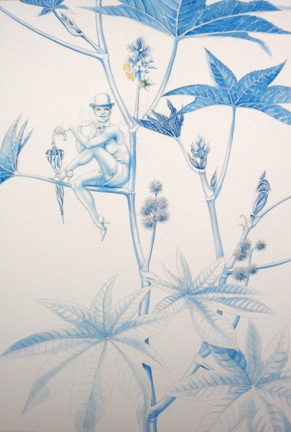 Blue underpainting, finished: 'The Fairy of Ricinus Communis'