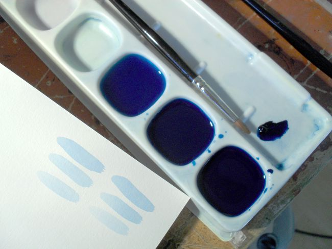 Three different concentrations of Prussian Blue gouache, with water.