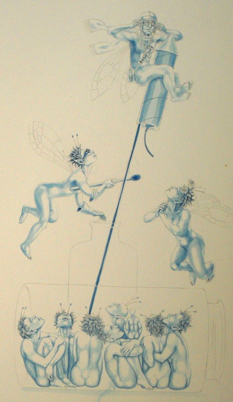 Blue underpainting: 'The Intrepid Explorer'