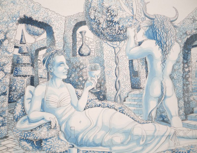 Mrs Minotaur II - blue underpainting