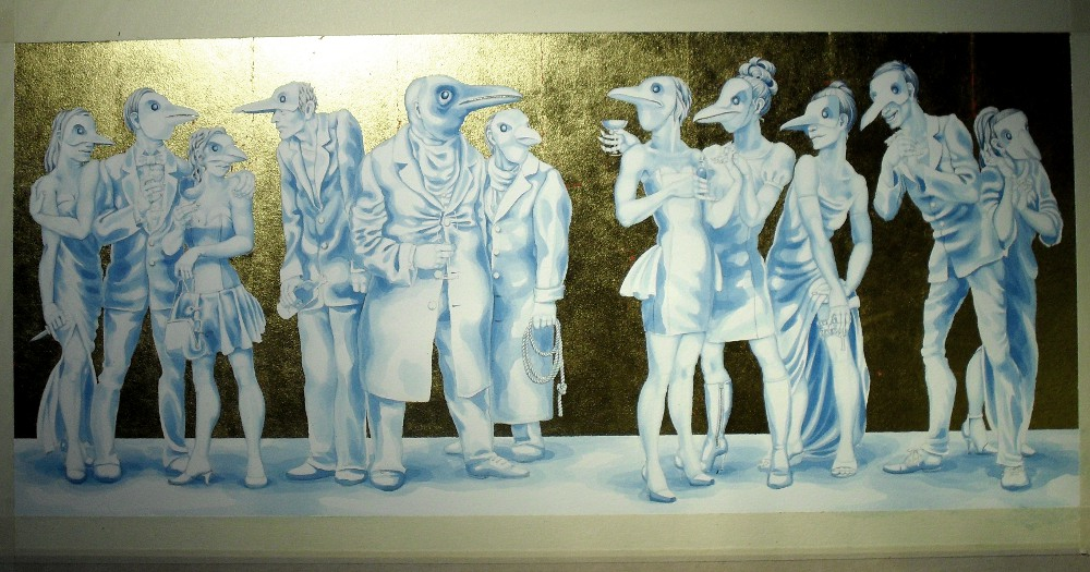 Blue underpainting stage for 'A Murder of Crows', with gold leaf