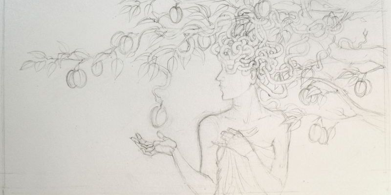 Medusa and the plum tree (sketch)