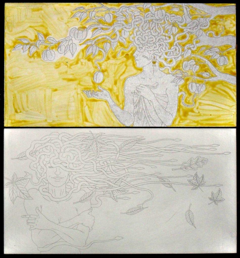 Half-finished etching plates for the medusa calendar 2014