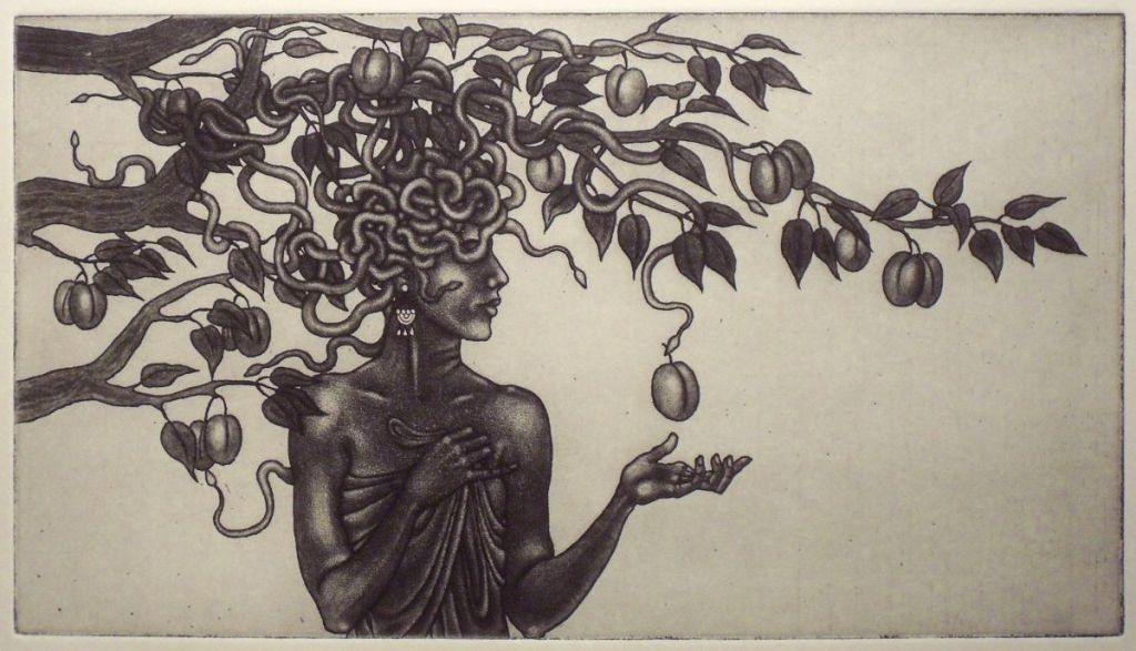 Medusa and the Plums - etching with burnished highlights