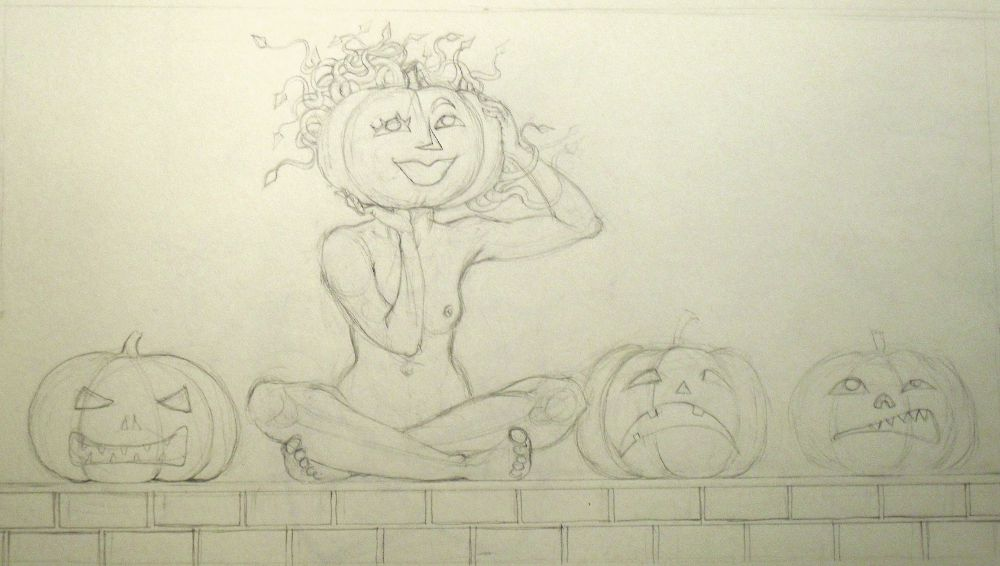 Medusa and the Pumpkins - Sketch for October 2014