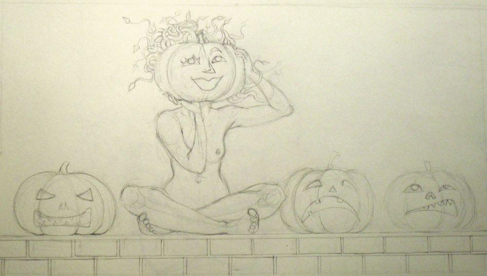 Medusa and the Pumpkins - Sketch for October 2014