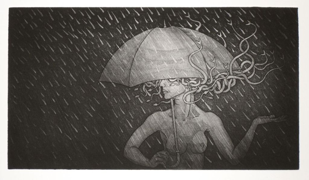 Medusa and Umbrella - with more ink left on the plate before printing