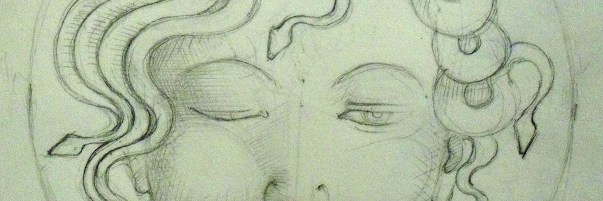 My sketch for the Medusa plaque