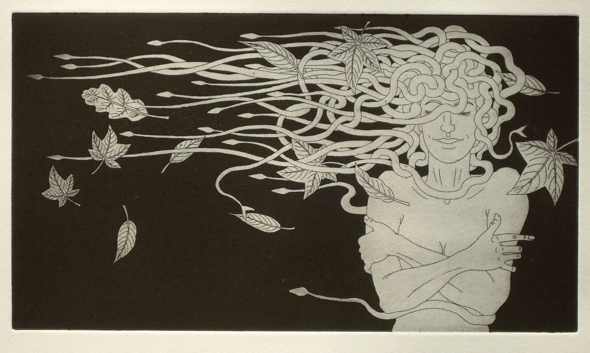 Medusa and autumn leaves - etching print