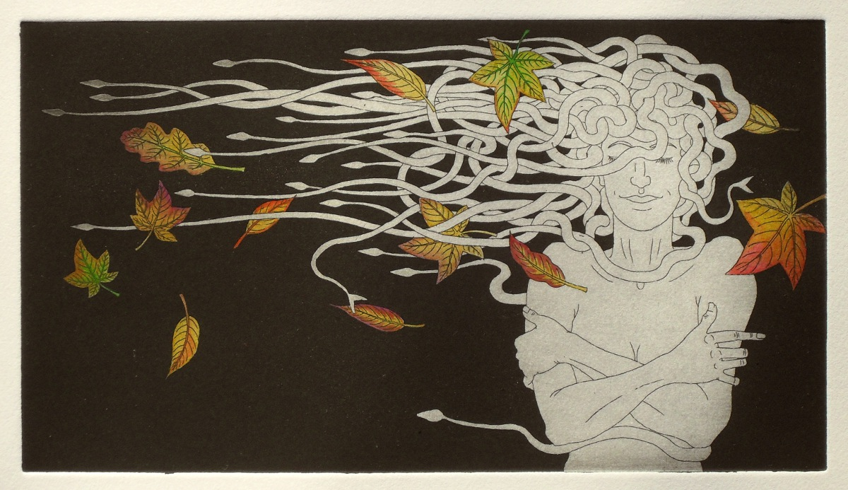 Medusa and autumn leaves - etching with watercolour