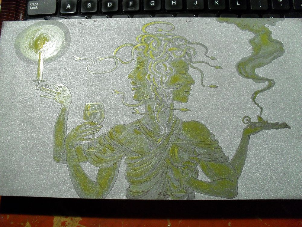 Etching in progress: Medusa as Janus
