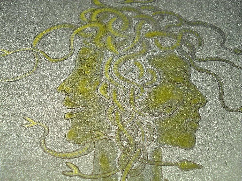 Etching in progress: close-up detail