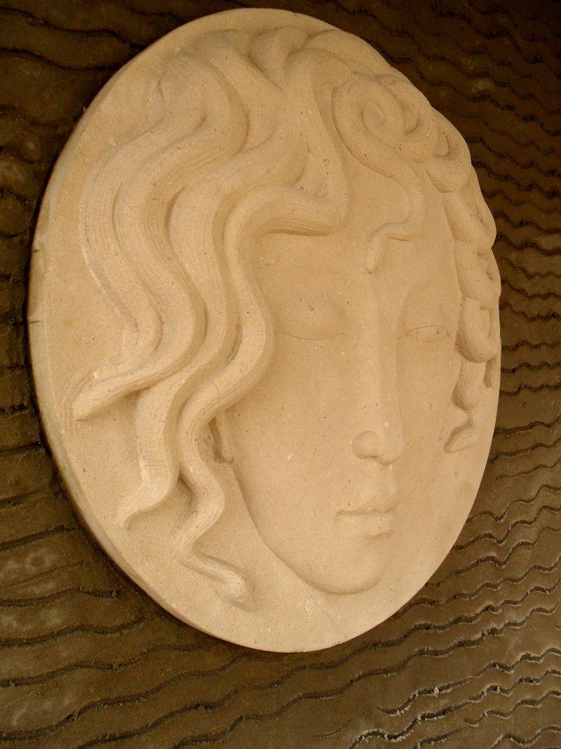 Medusa - carving by Tom Clark from a sketch by Nancy Farmer