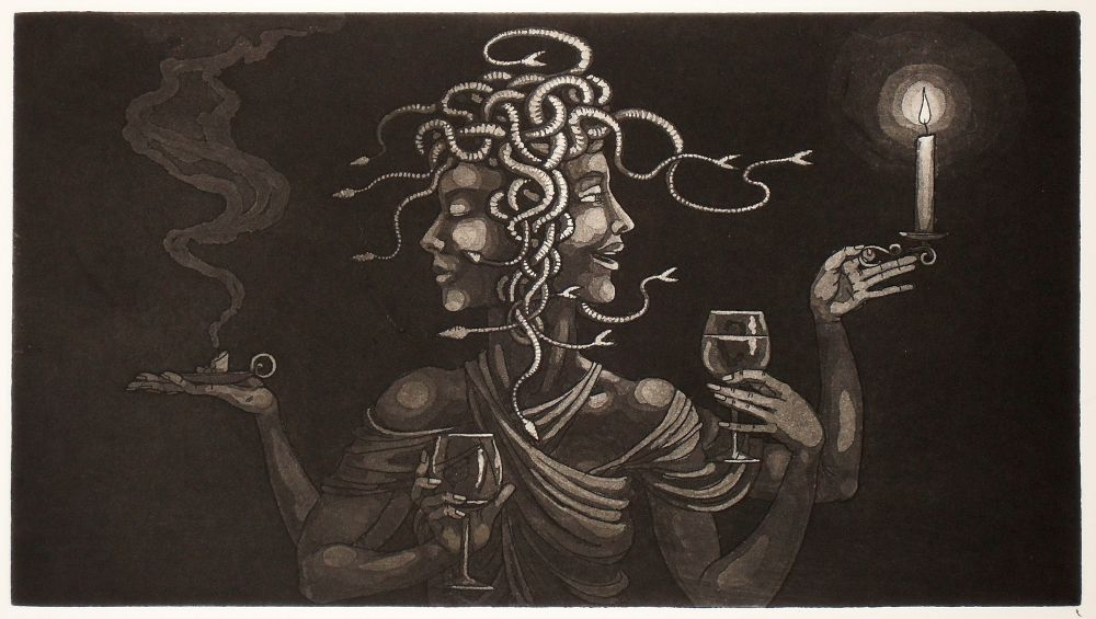 Medusa as Janus - etching print