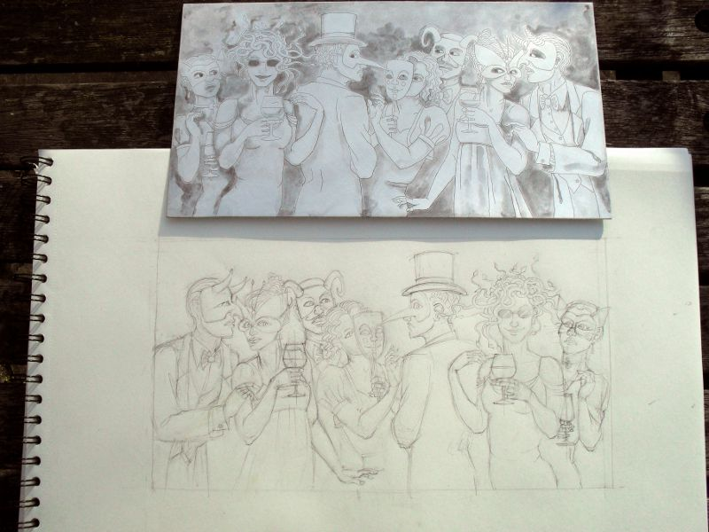 Medusa at the Christmas Party: sketch and etched plate.