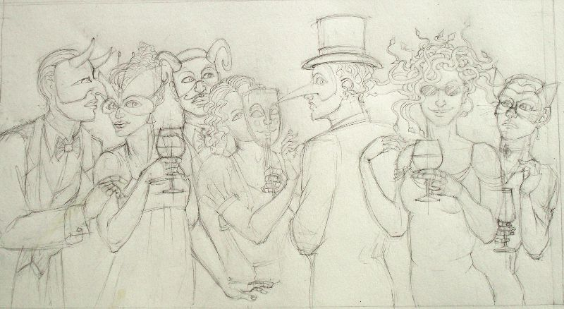 Sketch: 'is she or isn't she?' ...Medusa at the Christmas party